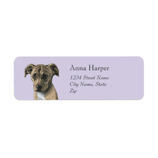 Brown Pit Bull Puppy Drawing Return Address Label