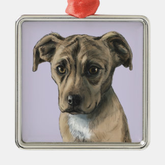 Brown Pit Bull Puppy Drawing Silver-Colored Square Decoration