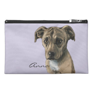 Brown Pit Bull Puppy Drawing Travel Accessory Bag