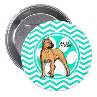 Brown Pitbull; Aqua Green Chevron 7.5 Cm Round Badge