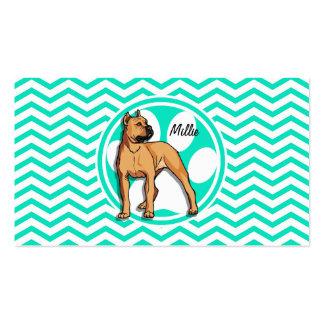 Brown Pitbull Aqua Green Chevron Business Cards