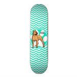 Brown Pitbull; Aqua Green Chevron Custom Skateboard