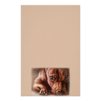 Brown pitbull face drawing of pet portrait dog stationery