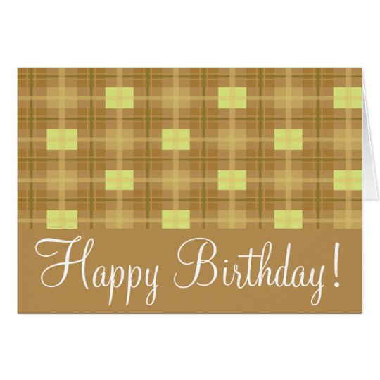 "Brown Plaid  ""Birthday Card"" Card"