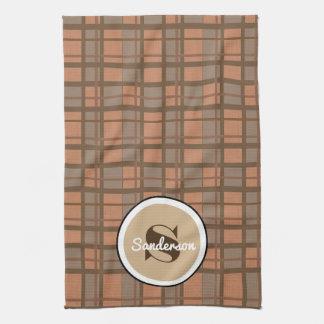 Brown Plaid Contemporary w/Name Tea Towel