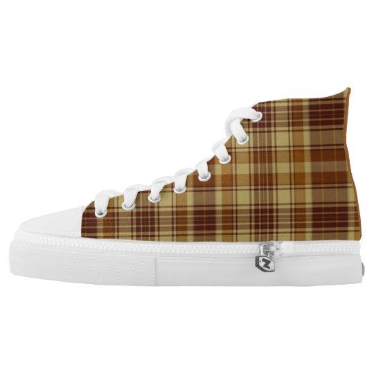 Brown Plaid High Top Sneakers