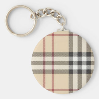 brown plaid key ring