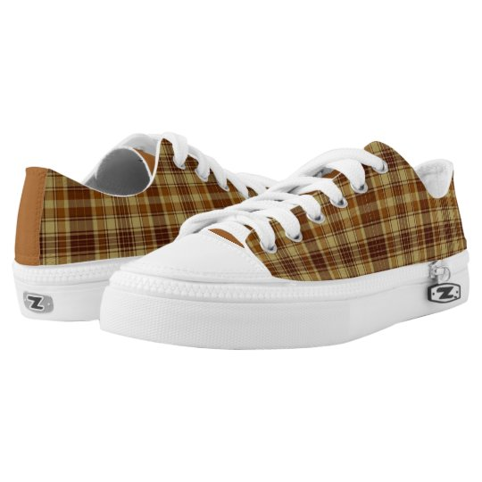 Brown Plaid Low Top Sneakers