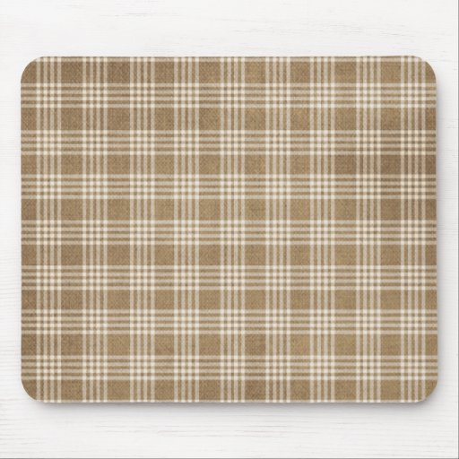 Brown Plaid Mouse Pad