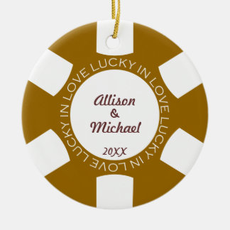Brown poker chip lucky in love couple photo vegas christmas ornament