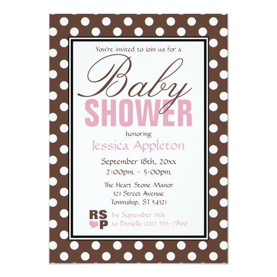 Brown Polka Dot Pink Baby Shower Invitations