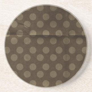 Brown Polka Dots Big with Crease Faded Beverage Coasters