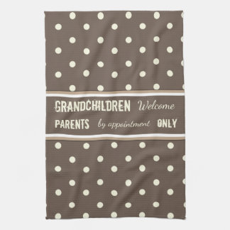 Brown polka dots Kitchen Grandparents Tea Towel