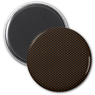 Brown Polka Dots on Black 6 Cm Round Magnet