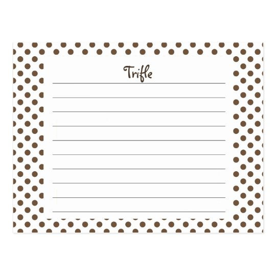 Brown Polka Dots Recipe Card