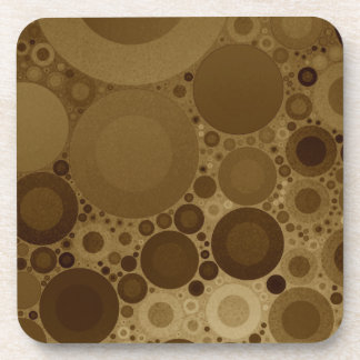Brown Polkadot Beverage Coaster