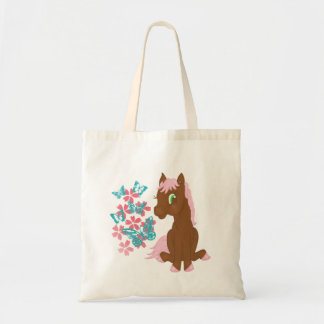 Brown Pony with Flowers and Butterflies Bag