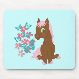 Brown Pony with Flowers and Butterflies Mousepad