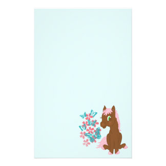 Brown Pony with Flowers and Butterflies Stationary Stationery