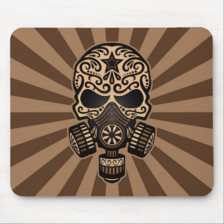 Brown Post Apocalyptic Sugar Skull Mouse Pad