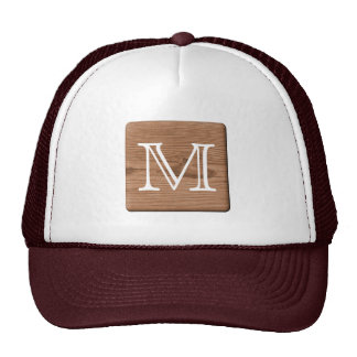 Brown Printed Pattern and Custom Letter. Mesh Hats