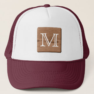 Brown Printed Pattern and Custom Letter. Trucker Hat