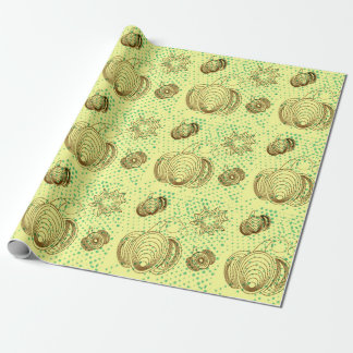 Brown pumpkins with mint grunge halftones wrapping paper