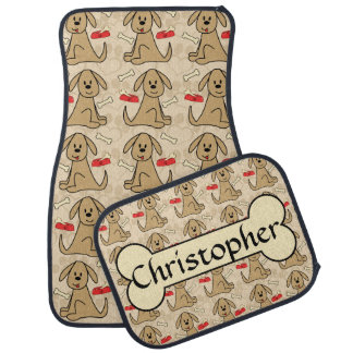 Brown Puppy Dog Graphic Design Personalize Car Mat