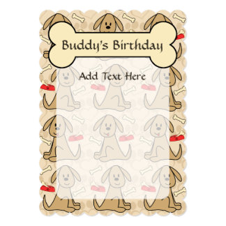 Brown Puppy Dog Graphic Design Personalize 5x7 Paper Invitation Card