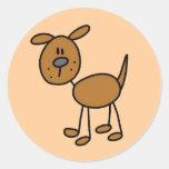 Brown Puppy Dog Tshirts and Gifts Round Sticker