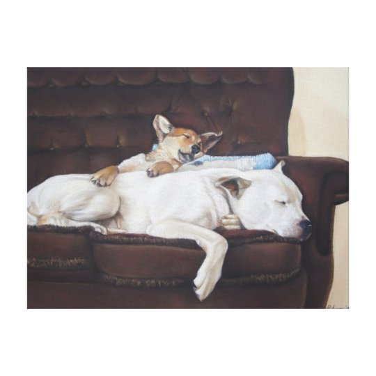 brown puppy white american bulldog realist art canvas print