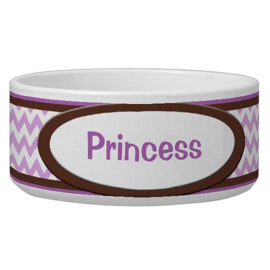 Brown & Purple Chevron Personalised Dog Bowl