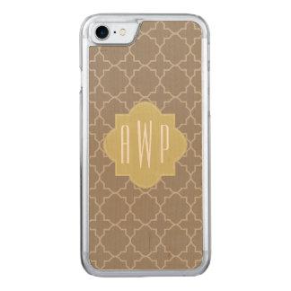 Brown Quatrefoil Monogram Carved iPhone 8/7 Case