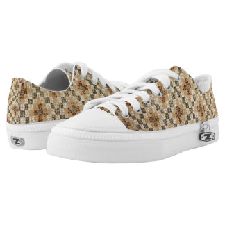 Brown Quilted Pattern Low Tops