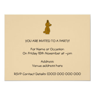Brown Rabbit 11 Cm X 14 Cm Invitation Card