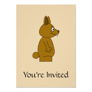 Brown Rabbit 13 Cm X 18 Cm Invitation Card