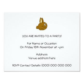 Brown Rabbit Cartoon 11 Cm X 14 Cm Invitation Card