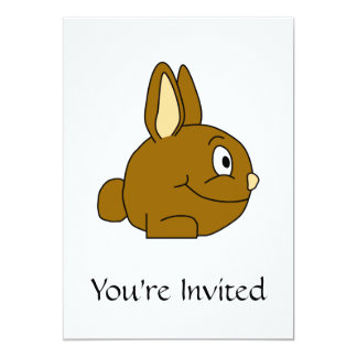 Brown Rabbit Cartoon 5x7 Paper Invitation Card