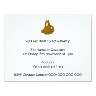 Brown Rabbit Cartoon 4.25x5.5 Paper Invitation Card