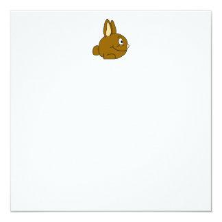 "Brown Rabbit Cartoon 5.25"" Square Invitation Card"