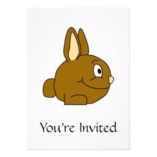 Brown Rabbit Cartoon Personalized Invite