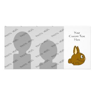 Brown Rabbit Cartoon Photo Greeting Card
