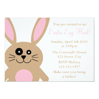 Brown Rabbit Easter Egg Hunt Invitations