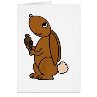 Brown Rabbit Eating Chocolate Ice Cream Greeting Card