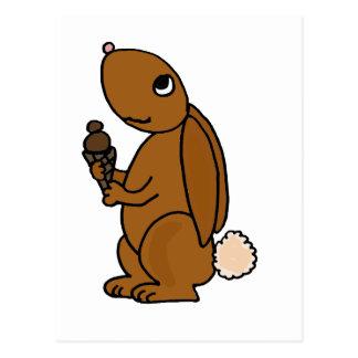 Brown Rabbit Eating Chocolate Ice Cream Postcard