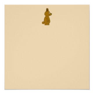 """Brown Rabbit 5.25"""" Square Invitation Card"""