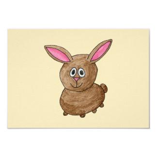 Brown Rabbit. 9 Cm X 13 Cm Invitation Card