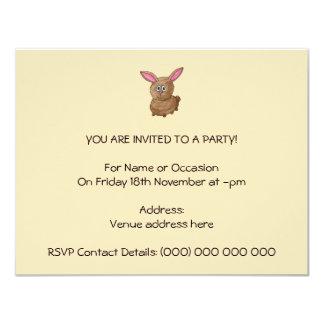 Brown Rabbit. 11 Cm X 14 Cm Invitation Card