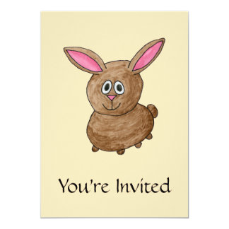 Brown Rabbit. 13 Cm X 18 Cm Invitation Card