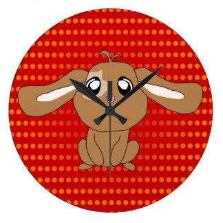 Brown Rabbit Round Clock